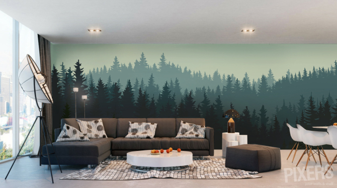 Misty forest - wall mural