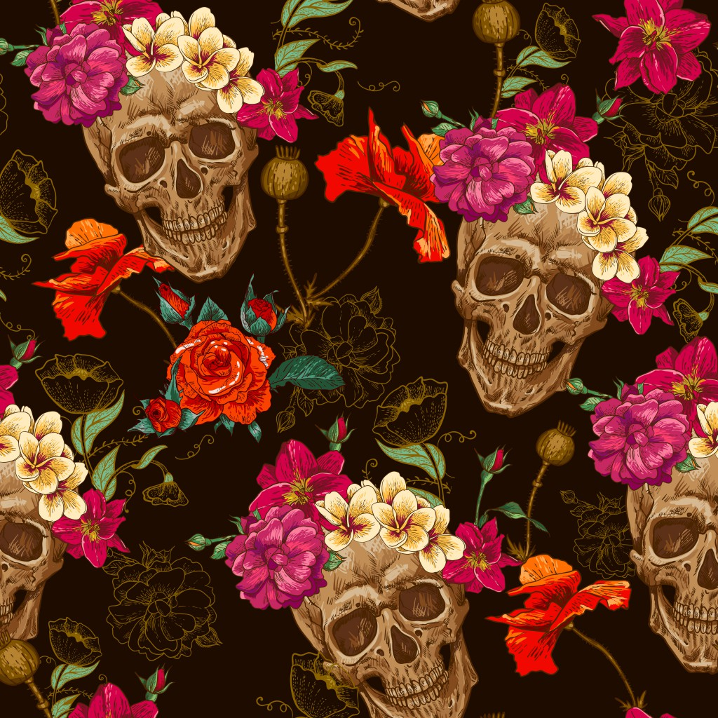 Czaszki i Kwiaty - fototapeta PIXERS