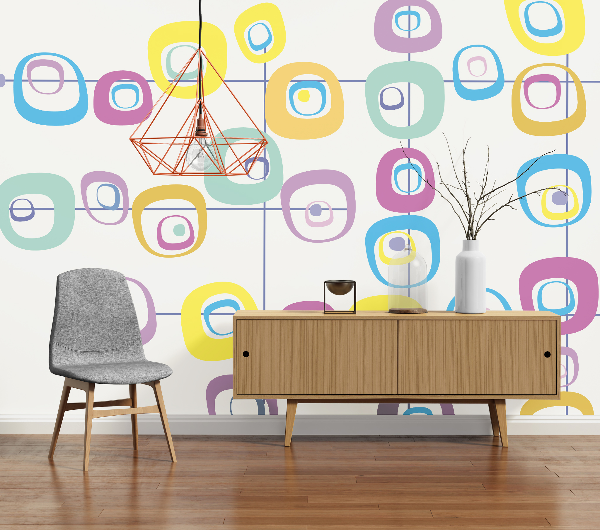 Mid-Century PIXERS Geometric Wall Mural with Clean Lines