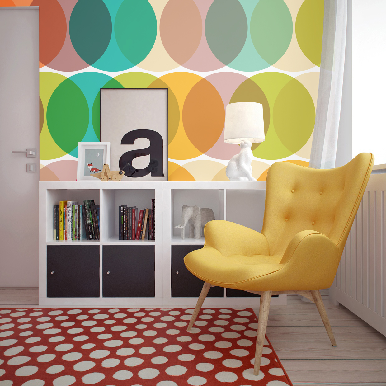 Geometric circles wall mural by PIXERS