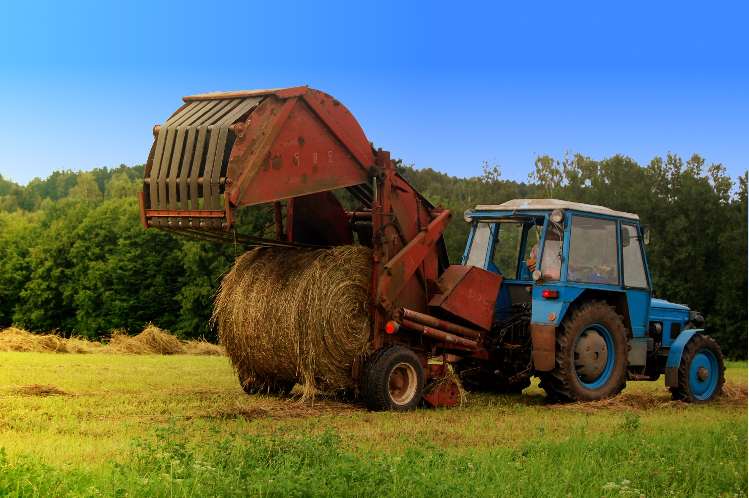 Traktor na wsi - fototapeta PIXERS