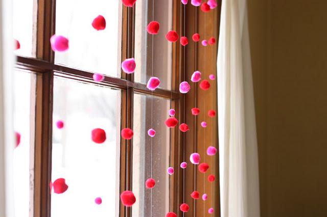Pompoms garland for Valentine's Day Decor