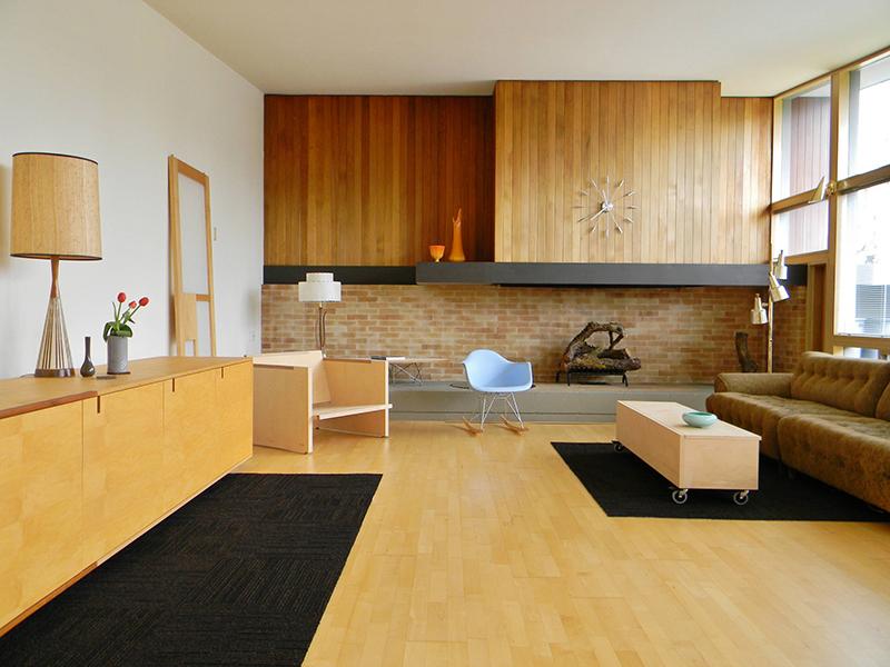 Mid Century Interior Design With Wooden Floor And Walls Pixers Blog